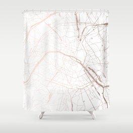 Paris France Minimal Street Map - Rose Gold Glitter Shower Curtain