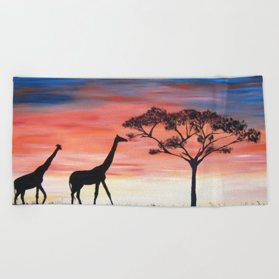 Africa Series - Seeking Shelter Before the Storm Beach Towel