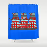 doctor who Shower Curtains featuring Doctor Who by Alli Vanes