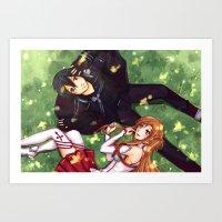 sword art online Art Prints featuring Sword Art Online by Arisu