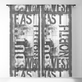 East South North West Black White Grunge Typography Sheer Curtain