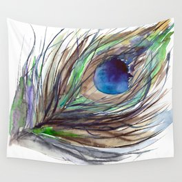 Peacock piece || watercolor Wall Tapestry