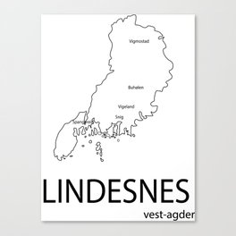 map of lindesnes Canvas Print