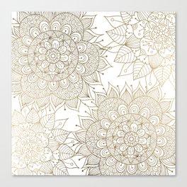 Elegant faux gold white spiritual floral mandala Canvas Print