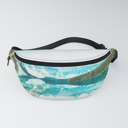 Lake reflections watercolor painting #3 Fanny Pack