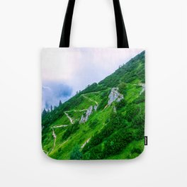 The steep path on the mountain Tote Bag
