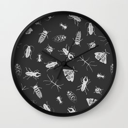 Insects Pattern on Black Wall Clock