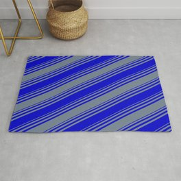 Blue & Slate Gray Colored Stripes Pattern Rug