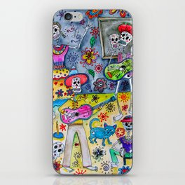 Mexcian Frida Kahlo and friends Fiesta Painting iPhone Skin