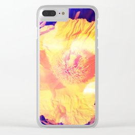Eerie purple and yellow Poppy blossom Clear iPhone Case