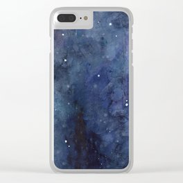 Galaxy Nebula Watercolor Night Sky Stars Outer Space Blue Texture Clear iPhone Case