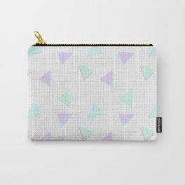 Cool-Color Pastel Triangles on Grid Carry-All Pouch