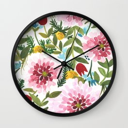 Spring Floral Wall Clock