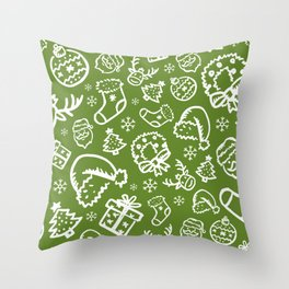 XMAS Green Pattern / Part Two Throw Pillow