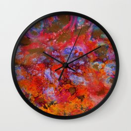 Red Nebula Wall Clock