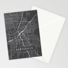 Huntsville Map, Alabama USA - Charcoal Portrait Stationery Cards