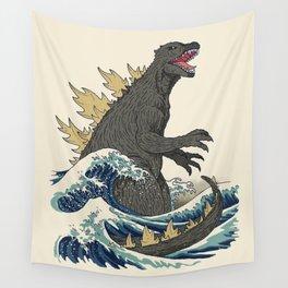 The Great Monster Off Kanagawa Wall Tapestry