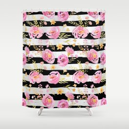 Delicate Poppy Pattern On Stripes Shower Curtain
