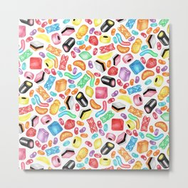 Rainbow Diet - a colorful assortment of hand-drawn candy on white Metal Print