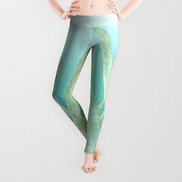 Aloe Veras pattern, Teal gradient background Leggings