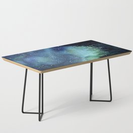 Galaxy Watercolor Aurora Borealis Painting Coffee Table