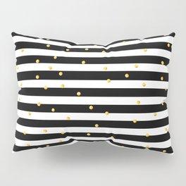 Modern black white gold polka dots striped pattern Pillow Sham