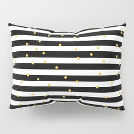 Modern black white gold polka dots striped pattern Pillow Sham
