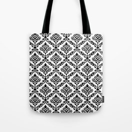 Prima Damask Pattern Black on White Tote Bag
