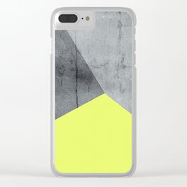 Neon Yellow On Concrete Clear iPhone Case