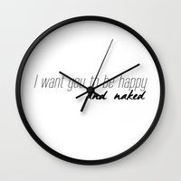 naked Wall Clocks featuring Naked by Amy Harlow