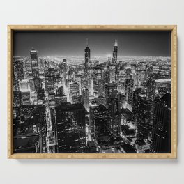 Chicago Skyline at Night Serving Tray