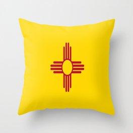 flag new mexico-usa,america,sun,Zia Sun symbol,New Mexican,Albuquerque,Las Cruces,santa fe,roswell Throw Pillow
