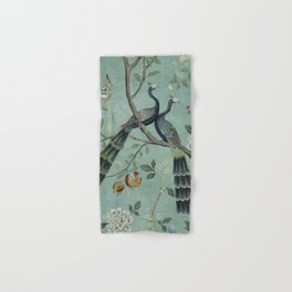 A Teal of Two Birds Chinoiserie Hand & Bath Towel