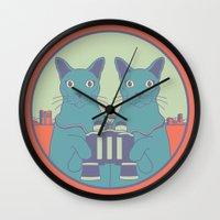 gemini Wall Clocks featuring gemini by Gray