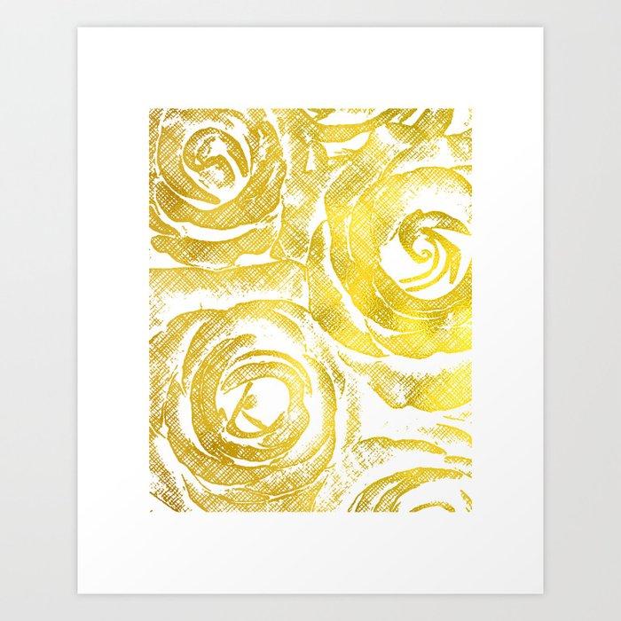 Roses Wall Art, Flower Print, Faux Gold Foil, Wall Art Ideas ...