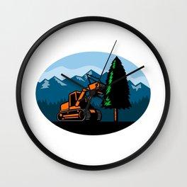 Forestry Mulcher Tearing Tree Oval Retro Wall Clock