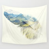 feather Wall Tapestries featuring Feather by Kiki collagist