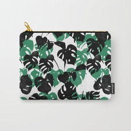 Monstera cheese plant linocut pattern minimal black and white house plants Carry-All Pouch