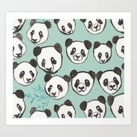 pandas Art Prints featuring Pandas by Abby Galloway