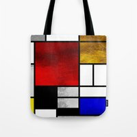 mondrian Tote Bags featuring Luxury Mondrian by Dizzy Moments