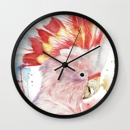 """Watercolor Painting of Picture """"Inca Cockatoo"""" Wall Clock"""