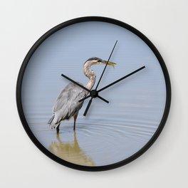 Great Blue Heron Fishing - II Wall Clock