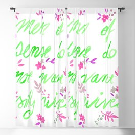 Men of sense do not want silly wives - Green & Pink Palette Blackout Curtain