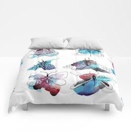 blue watercolor butterflies Comforters