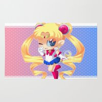 sailor moon Area & Throw Rugs featuring Sailor Moon by Corpse Cutie