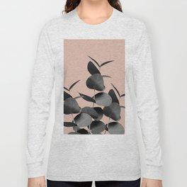 Eucalyptus Leaves Black Gray White Pale Terracotta #1 #foliage #decor #art #society6 Long Sleeve T-shirt