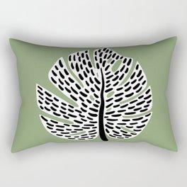 Abstract Monstera Leaf green Rectangular Pillow