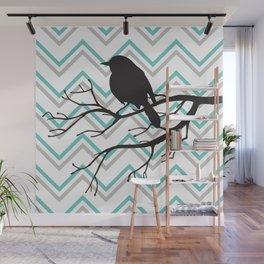 bird on wire , bird on branch , Wall Mural