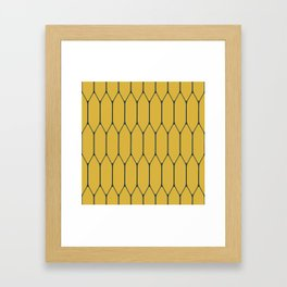 Long Honeycomb Minimalist Geometric Pattern in Navy Blue and Light Mustard Framed Art Print