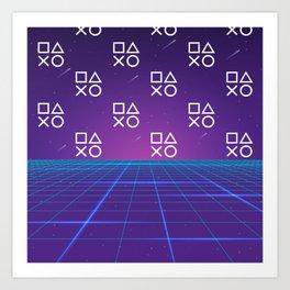 Vaporwave Playstation Neon Aesthetic Art Print